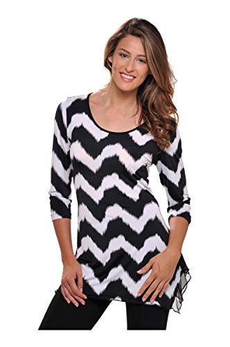 Nygard 3/4 Sleeve Blouse (Nygard SLIMS Plus Size 3/4 Sleeve Tunic Blk/Wht Zig Zag Print 1X)