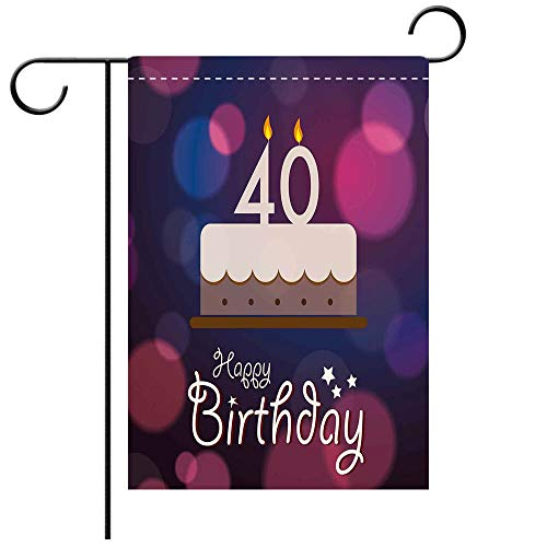(Garden Flag Double Sided Decorative Flags 40th Birthday Decorations Big Color Dots and Graphic Cake Candles Hand Writing Stars Purple Pink White Best for Party Yard and Home Outdoor Decor)