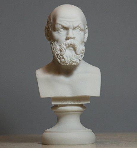Greek Philosopher SOCRATES Alabaster Bust Head Statue Sculpture Décor (White Alabaster Statue)