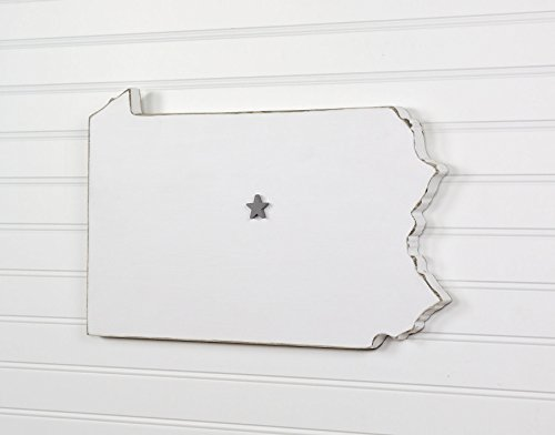Pennsylvania State Shape Wood Cutout Sign Wall Art  18  Wide  20 Paint Colors  Personalized With Choice Of Wooden Dimensional Heart Or Star At Hometown Location