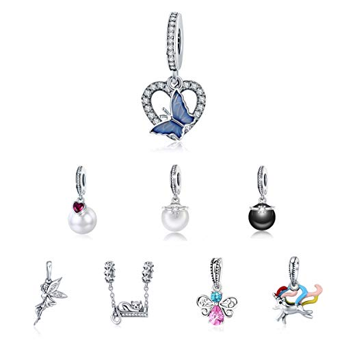 BAMOER 925 Sterling Silver Butterfly Dangle Charms Fit Bracelet Necklace for Women Girls Butterfly Heart Pendant