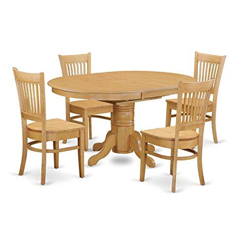 East West Furniture AVVA5-OAK-W 5-Piece Dining Table Set