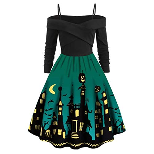 Halloween City Costumes Coupons (aihihe Plus Size Off The Shoulder Dresses for Women Halloween Costumes Long Sleeve Pumpkin Vintage 1950s Flowy Dress)