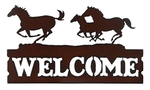 Rustic Iron Works Running Horses Welcome Sign 15.5x9 Inches (Running Horse Iron)
