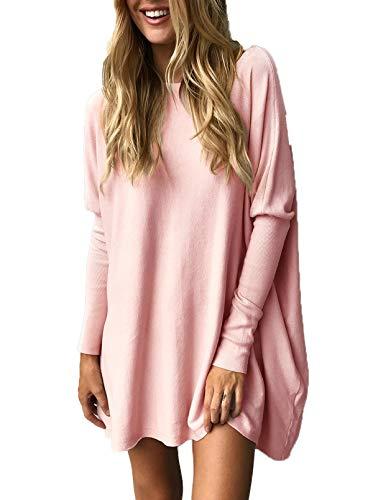 Inverno Tunica Maglione Onlyoustyle Donne Jumper Bluse Rosa Maglietta E Tinta Manica Casual A Autunno Collo T Unita Tops Rotondo Maglie shirt Lungo Pullover Lunga Moda gaRxqgP
