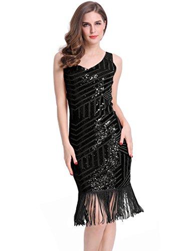 [KAYAMIYA Women's 1920s Sequined Fringe Gatsby costume Midi Party Dress M Black] (1920s Womens Fashion Costumes)