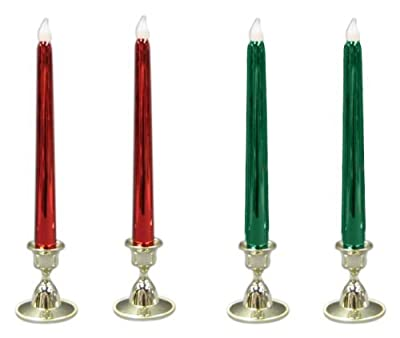 Mr. Light Flickering Taper Candles with Metallic Finish, Metallic Red/Green, Set of 4