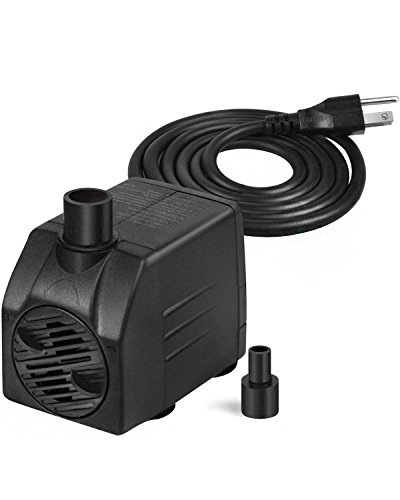 Simple Deluxe 120 GPH UL UL Listed Submersible Pump with 6' Cord, Water Pump for Fish Tank, Hydroponics, Aquaponics, Fountains, Ponds, Statuary, Aquariums