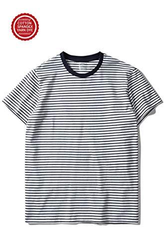 Zengjo Essential Stripes T-Shirts Comfort Short-Sleeve Crew-Neck Striped Vee Tee Top (L, White & Navy Stripes)