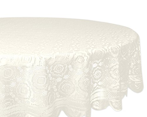 (DII Home Essentials 100% Polyester, Machine Washable, Shabby Chic, Vintage Tablecloth or Overlay 63
