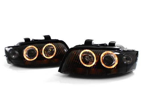 CPW (tm) Euro Black Angel Eye Projector Headlights for 02-05 Audi A4 / S4 B6 (halogen models only)