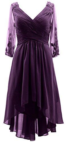 Les Femmes Macloth Manches 3/4 Robe Formelle Col V Mère Salut-lo De L'aubergine Robe De Mariée