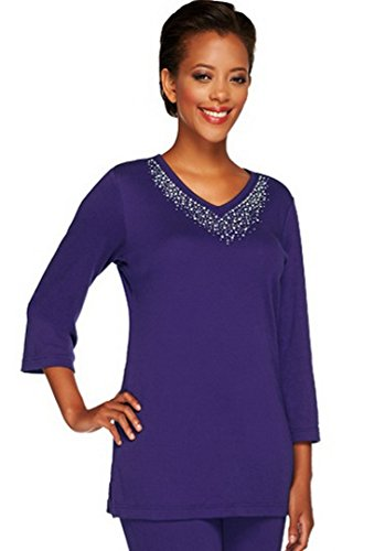 Quacker Factory Women's Embellished 3/4 Sleeve Tunic, used for sale  Delivered anywhere in USA
