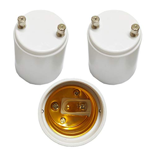 3 Pack GU24 to E26 E27 Adapter,AUSAYE Maximum Wattage 1000W Heat Resistant Up to 200? Fire Resistant Converts GU24 Pin Base Fixture to E26 E27 Standard Screw-in Socket