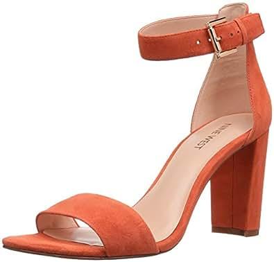Nine West Women's Nora Suede Dress Sandal, Orange, 5 M US