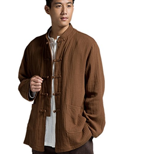 Katuo Chinese Traditional Men's Casual Shirt Blouse Meditation Outwear S-2XL (L, Coffee) by KATUO