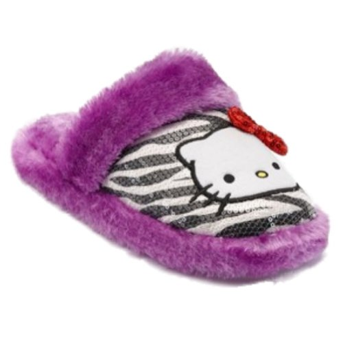 Womens Plysj Lilla Paljett & Faux Fur Hello Kitty Sebra Stripe Tøfler 5-6