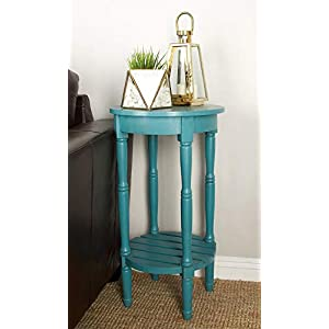 """Deco 79 96223 Wood Round Accent Table, 16"""" x 29"""", Teal"""