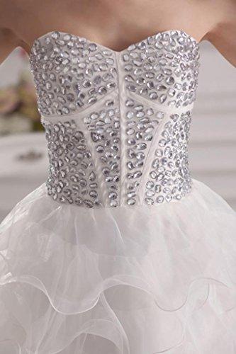 traegerlosen Charme Neue GEORGE Abendkleid Pailletten Weiß Kurz BRIDE gq8zpxR4