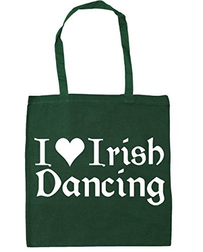 HippoWarehouse I Love Irish Dancing Tote Shopping Gym Beach Bag 42cm x38cm, 10 litres Bottle Green