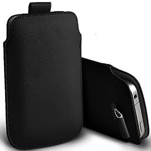 ONX3 HTC Desire 300 Leather Slip cuerda del tirón de la PU de protección en la bolsa de la liberación rápida (Negro)