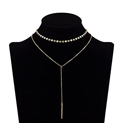 Gudukt Single and Layered Choker Necklace Pendant Bar Triangle Disc Gold for Women