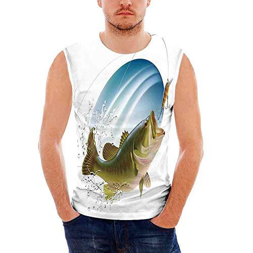 Bite Green T-shirt - Mens Sleeveless Fishing Decor T- Shirt,Largemouth Sea Bass Catching a Bite in Wa