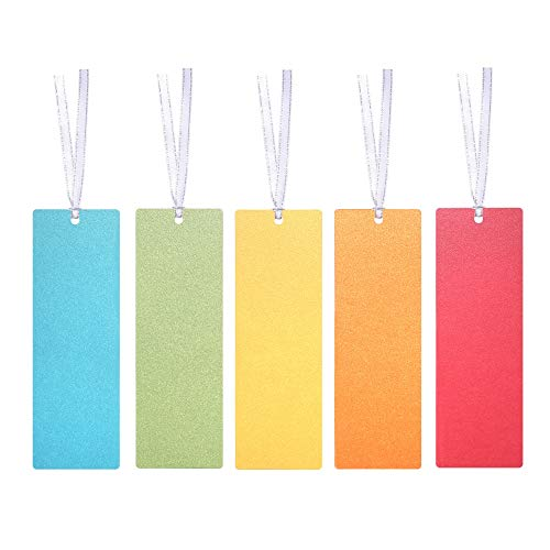 Blank Colored Paper Bookmarks with Ribbon, for DIY Classroom Project, School Crafts, Gift Tags, Pack of 30 by Quotidian ()