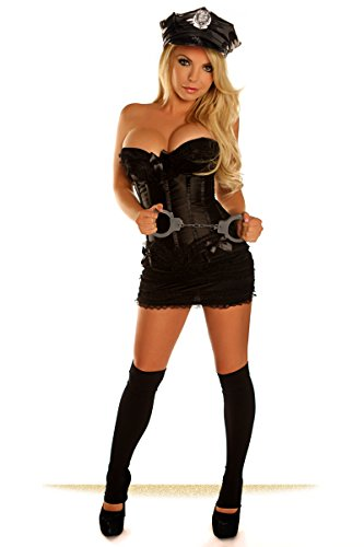 Daisy Corsets Women's 4 Piece Naughty Cop Costume, Black, 6X - Cop Halloween Costumes Plus Size
