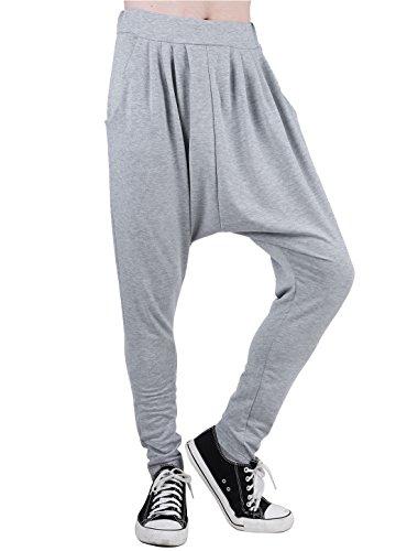 uxcell Man Comfortable Elastic Waist Harem Pants Light Grey W32/34