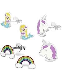 925 Sterling Silver Hypoallergenic Set of 3 Pairs Mermaid, Purple Unicorn, & Rainbow Stud Earrings for Girls (Nickel Free)