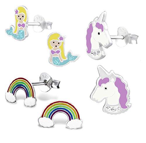 925 Sterling Silver Hypoallergenic Set of 3 Pairs Mermaid, Purple Unicorn, & Rainbow Stud Earrings for Girls (Nickel Free) ()