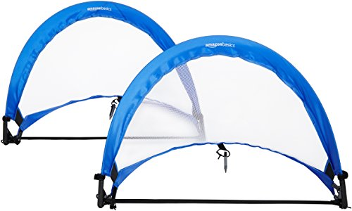 AmazonBasics Pop-Up Soccer Goal Net Set with Carrying Case - 2.5 Feet, Blue