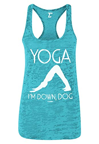 (Yoga I'm Down, Dog - Funny Namaste Women's Racerback Tank Top (Teal, Small) )