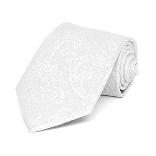 TieMart White Clara Paisley Necktie product image