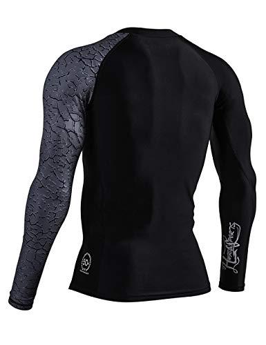 ADOREISM Men's Long Sleeve Rash Guard Surf Swim Shirt Splice UPF 50+ Compression for MMA BJJ Jiu Jitsu Fishing Hiking(Chapped,L)