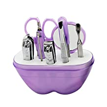 Manicure Pedicure Set Nail Clippers - 9 Piece Stainless Steel Hygiene Kit - Toenail Clippers Includes Cuticle Remover with Portable Travel Case Beauty Care Tools (Purple)