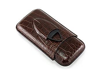 Skyway Crocodile Cigar Case Holder with Cigar Cutter - Dark Brown