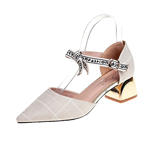 WHL Shoes High-Heeled Shoes Sandals Tip Light Of Summer Stylish Grid Of Letters With Low-Like White 36 by WHL Shoes