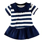 Baby Girls Short T-Shirt Dress Short Sleeve Ruffle O-Neck Striped Casual Sport Dress (Navy, Recommeded Age:6-12 Months)