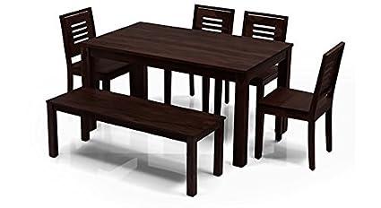 Urban Ladder Arabia Capra Six Seater Sheesham Wood Dining Table Set  (Mahogany)
