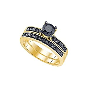 Size 8.5 - 10k Yellow Gold Round Black Diamond Bridal Wedding Engagement Ring Band Set 1.00 Cttw