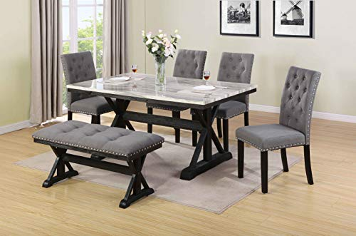 Best Quality Furniture D116-D6 6PC Dining Set (1 Table + 4 Chairs + 1 Bench), Gray - Marble Dining Table Set