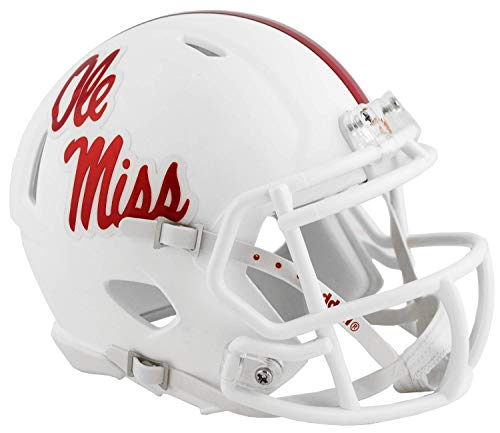 Ole Miss Rebels Matte White Riddell Speed Mini Football Helmet - New in Riddell Box