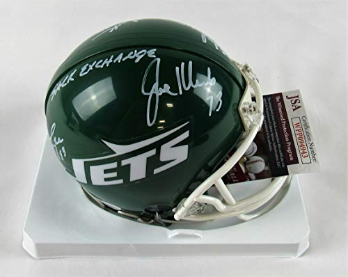 Salaam New York Jets Sack - New York Sack Exchange Signed Riddell Jets Mini Helmet - Gastineau Klecko Lyons Salaam - JSA