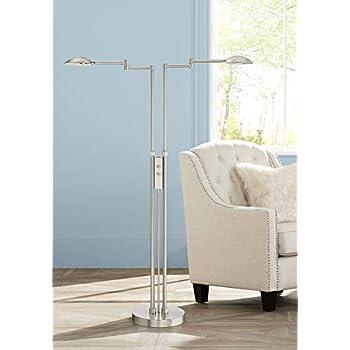 Eliptik Modern Floor Lamp Led Double Swing Arm Satin