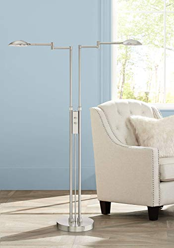 Eliptik Modern Floor Lamp LED Double Swing Arm Satin Nickel Metal Shade Dimmable for Living Room Reading Office - Possini Euro Design