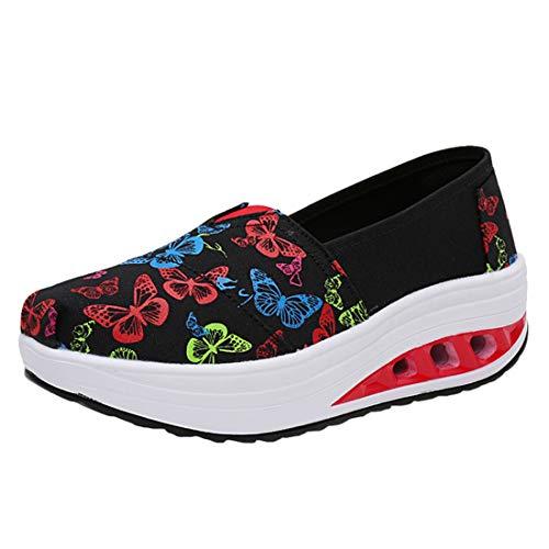 LINNUO Plataforma Zapatos Mujer Sneaker Cuña de Lona Impreso Casual Zapatillas de Deporte Gruesa Mocasines Wedge Cómodos #3impreso