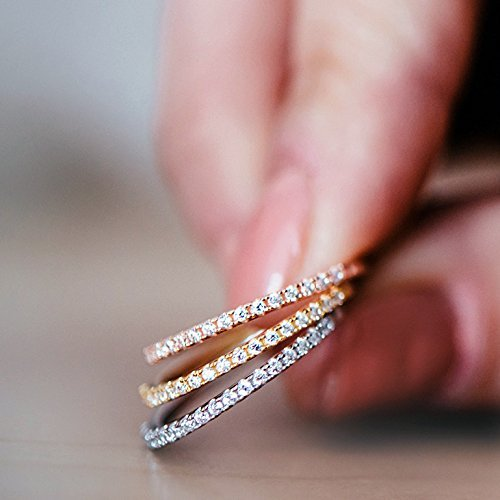 Gold Plated Sterling Silver CZ Simulated Diamond Stackable Ring Eternity Bands for Women