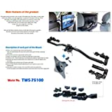 Bar type monitor mount to fix on both driver's and passenger's seat headrests of vehicle Headrest Mount sturdy aluminum alloy frame with gear-interlocking way VESA standard plate